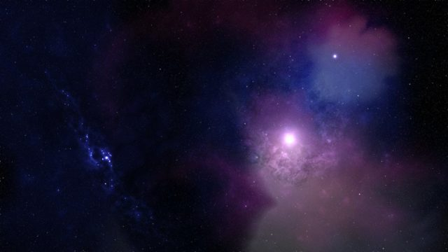 blue and purple sky with stars